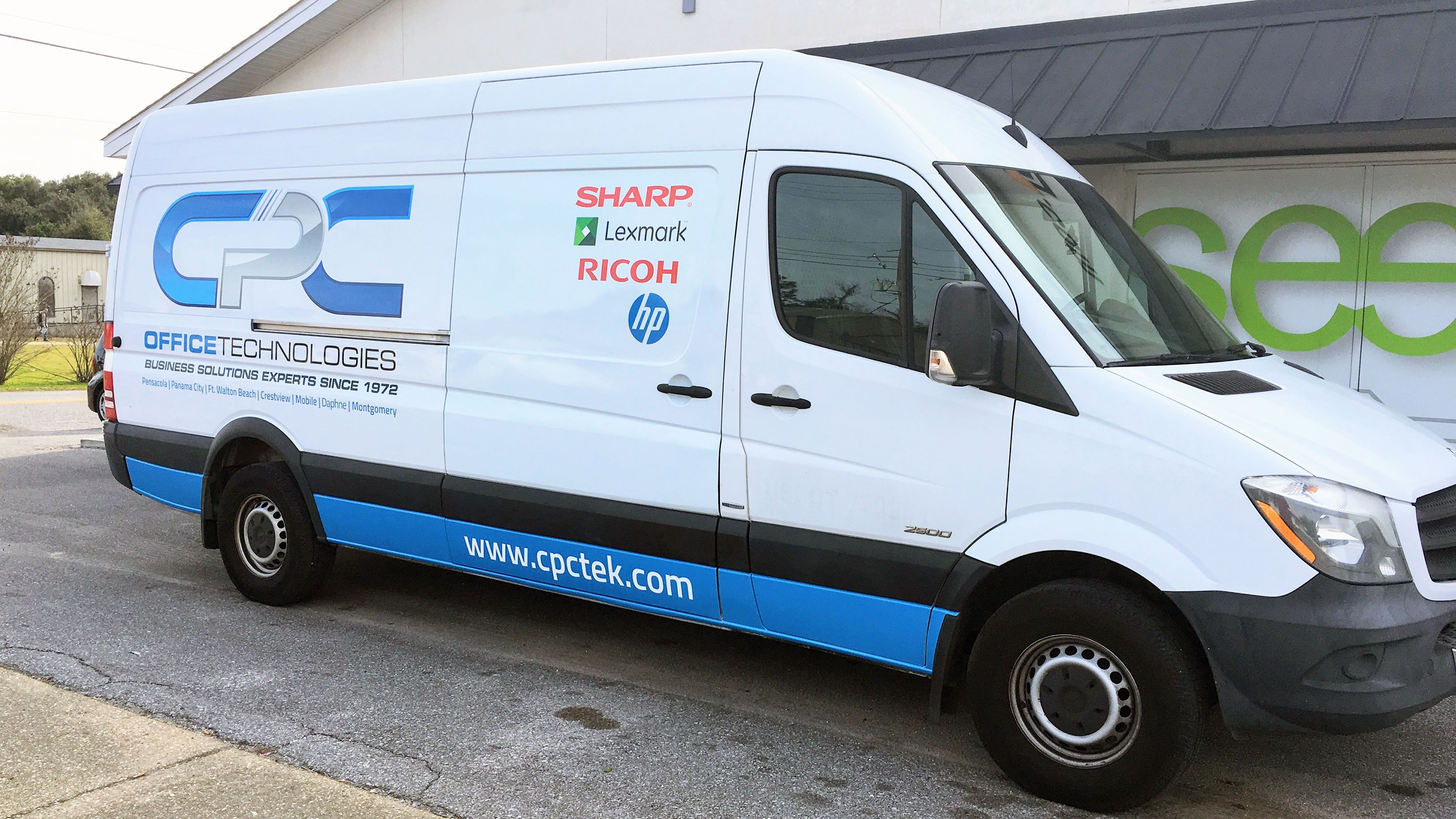 Printed graphics on CPC cargo van - Pensacola Sign vehicle graphics