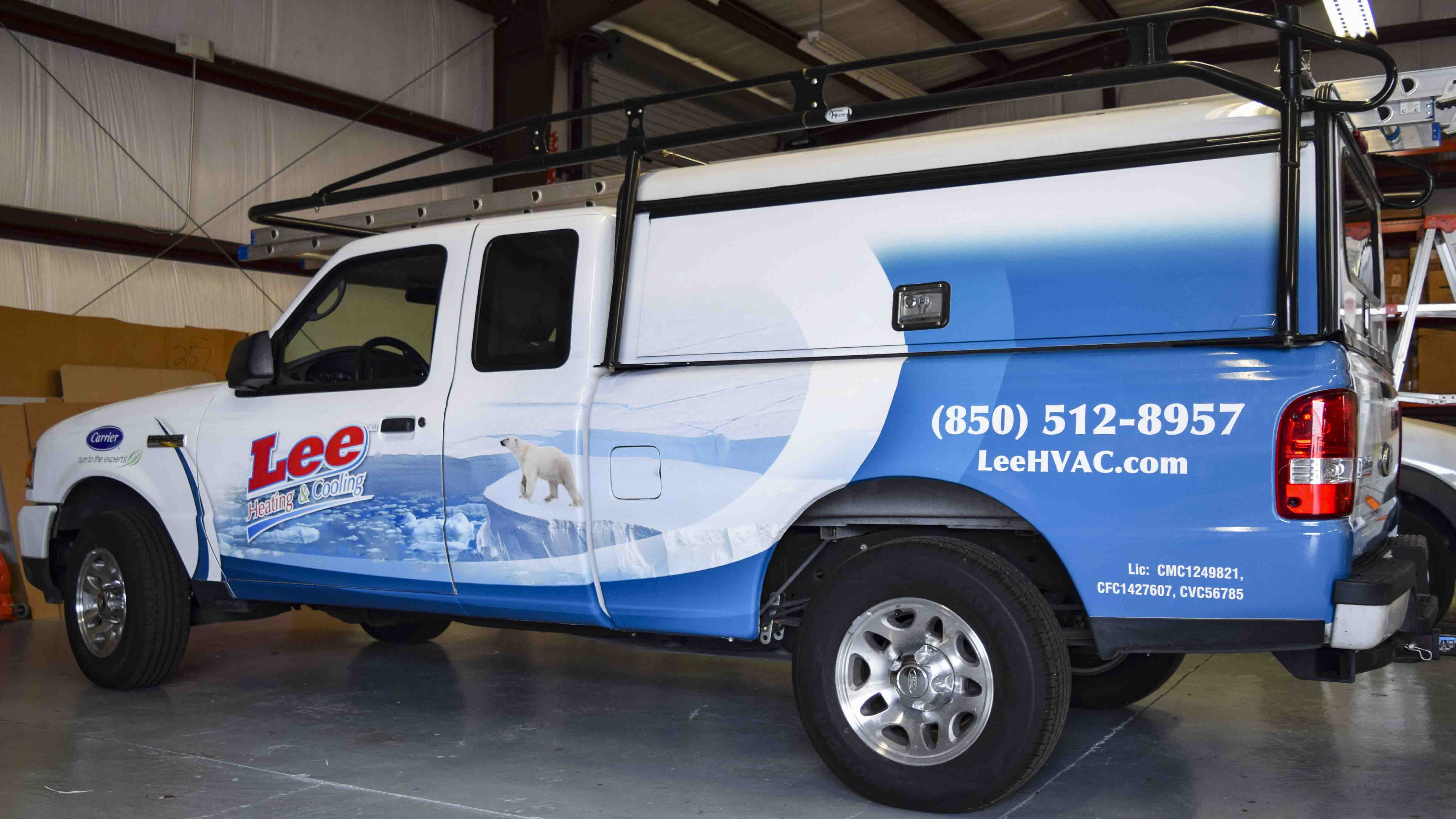 Pensacola Sign - Vehicle Wrap for Lee heating and Cooling