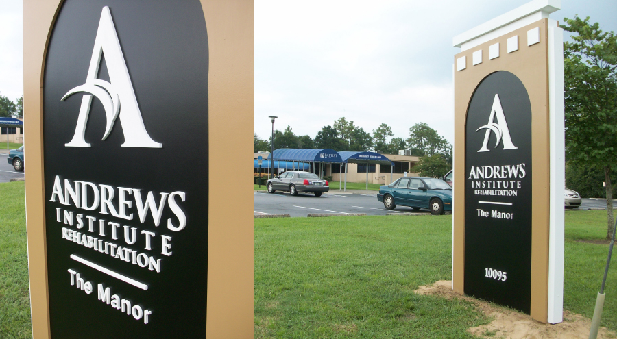 Andrews Institute Roadside Sign with Dimensional Lettering by Pensacola Sign