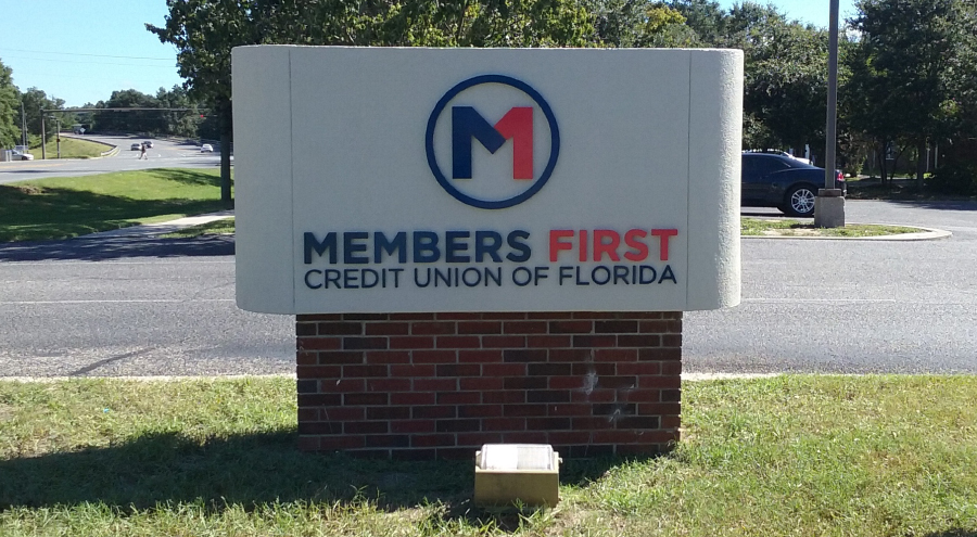 Members First Credit Union of Florida Roadside Corporate Identity Signage by Pensacola Sign