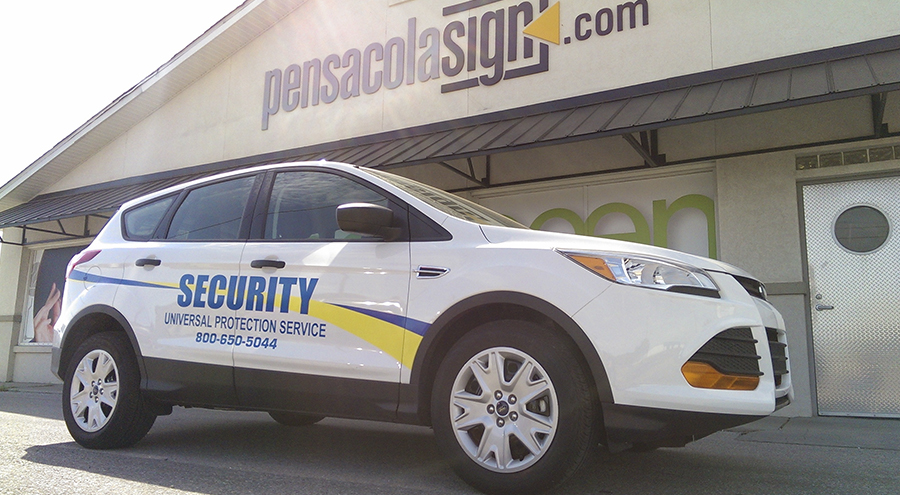 Security vinyl vehicle graphics by Pensacola Sign