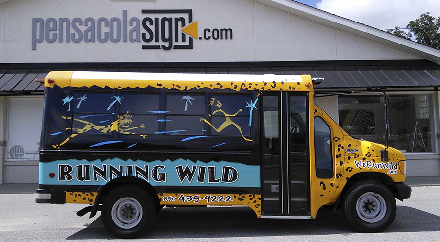 Running Wild Custom Vinyl Wrapped Bus by Pensacola Sign