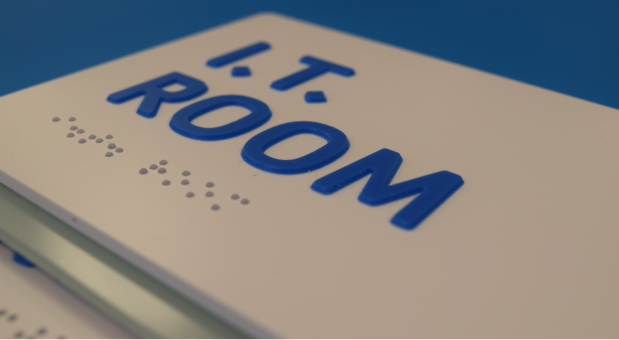 ADA compliant signs for IT room with braille