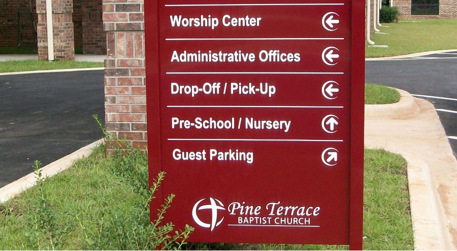 Exterior wayfinding entrance signage for Pine Terrace Baptist Church by Pensacola Sign