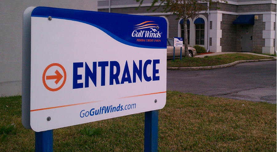 Exterior entrance wayfinding sign for Gulf Winds by Pensacola Sign
