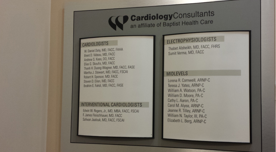 Cardiology Consultants of Baptist Health Care Physician and Provider Directory Signage by Pensacola Sign - Wayfinding
