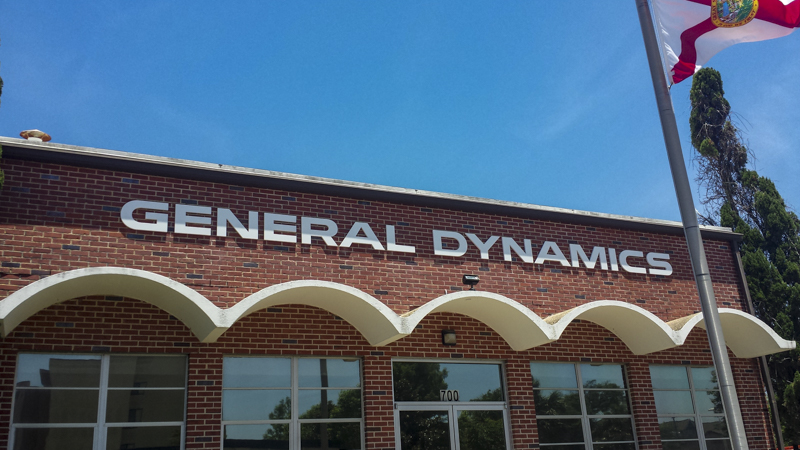General Dynamics exterior corporate identity signage by Pensacola Sign