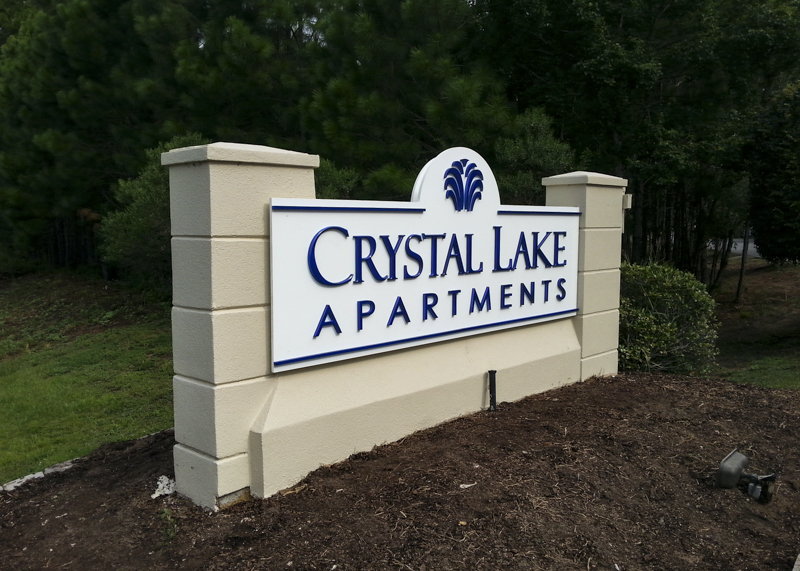 Crystal Lake Apartments exterior corporate identity signage by Pensacola Sign