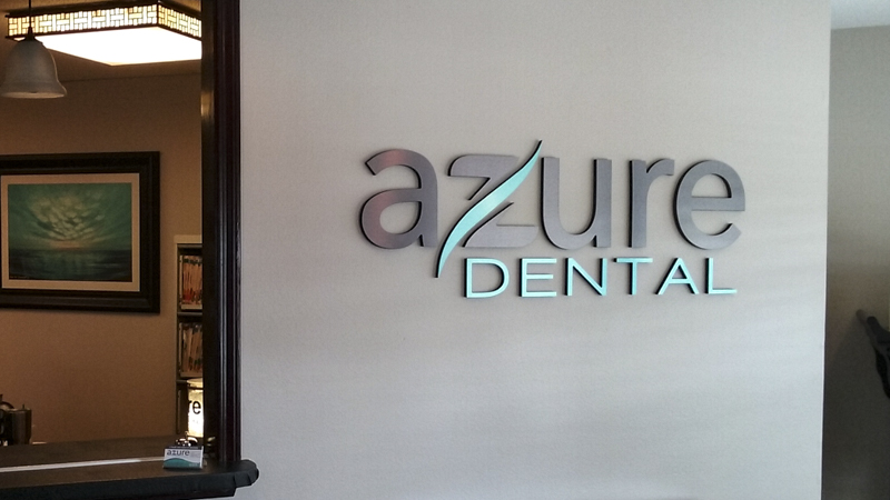 Azure Dental interior corporate identity signage by Pensacola Sign