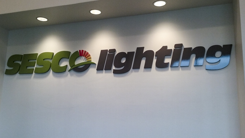 Sesco Lighting interior corporate identity signage by Pensacola Sign