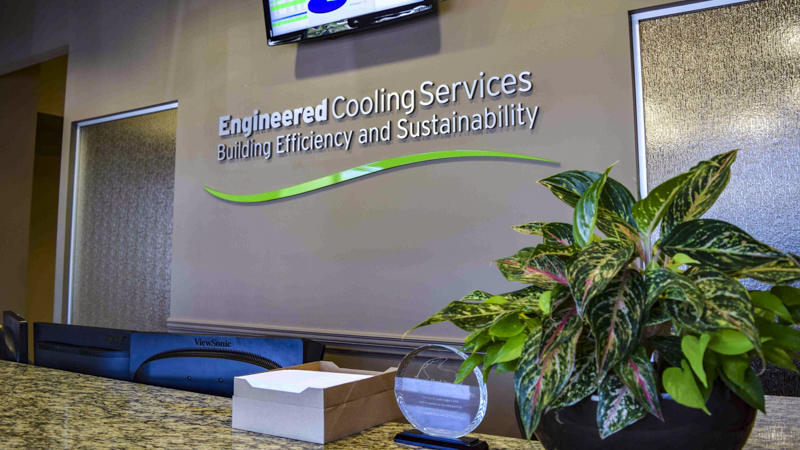 Engineered Cooling Services interior corporate identity signage by Pensacola Sign