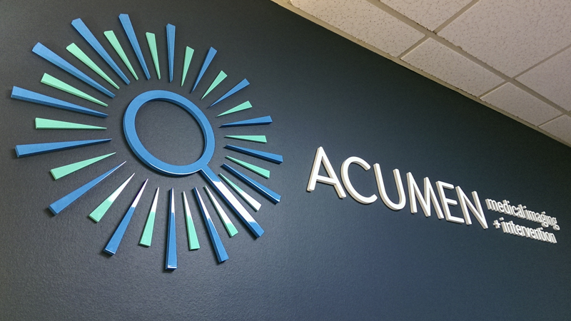 Acumen Medical Imaging interior corporate identity signage by Pensacola Sign