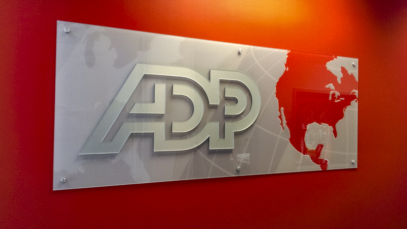 ADP interior corporate identity signage by Pensacola Sign
