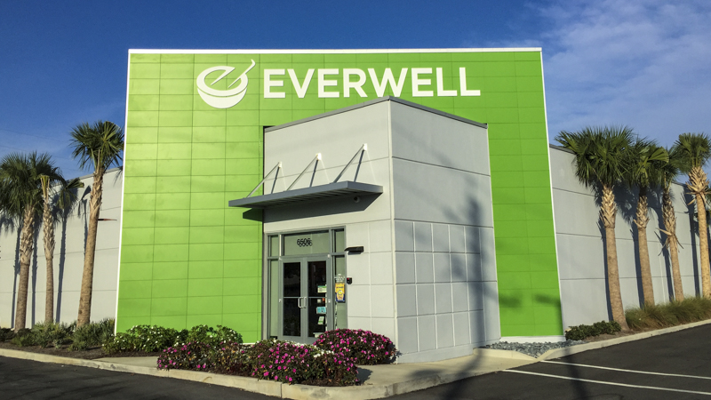 Everwell Pharmacy exterior corporate identity signage by Pensacola Sign