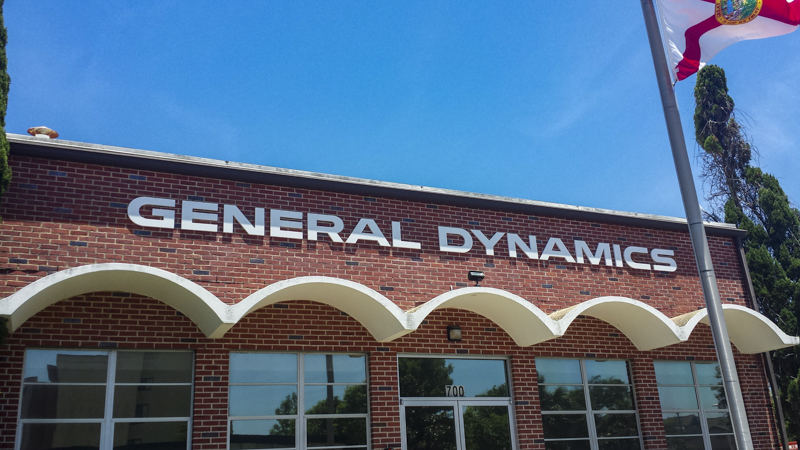 General Dynamics exterior dimensional lettering signage by Pensacola Sign
