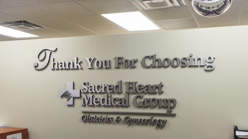 Sacred Heart Medical Group interior dimensional lettering signage by Pensacola Sign