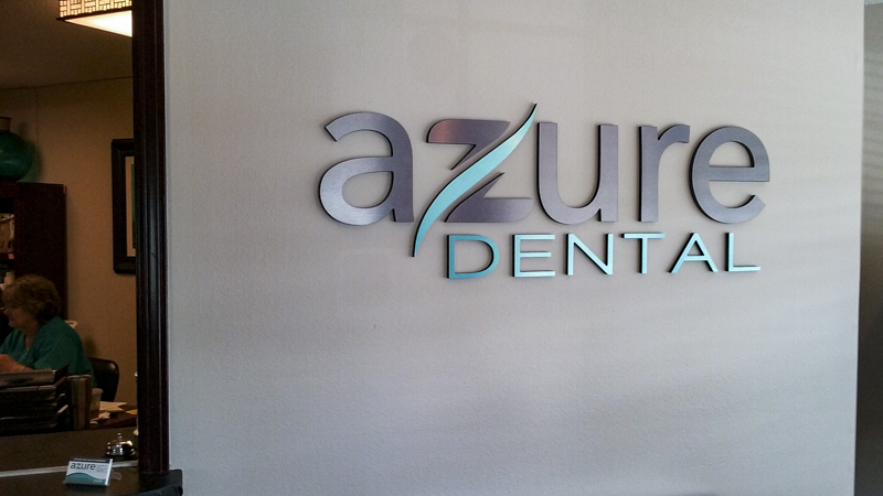 Azure Dental interior dimensional lettering signage by Pensacola Sign