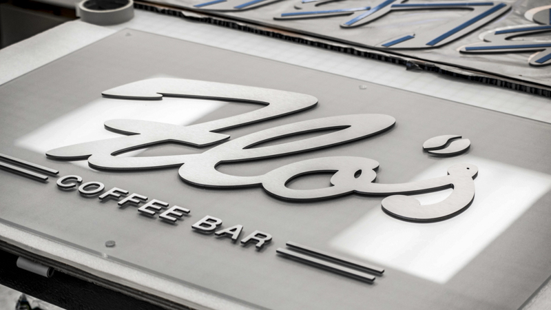 Flo's Coffee Bar interior dimensional lettering signage by Pensacola Sign