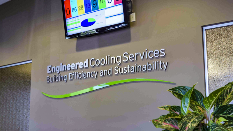 Engineered Cooling Services interior dimensional lettering signage by Pensacola Sign