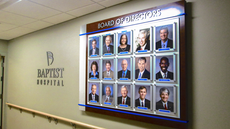 Board of Directors portrait display for Baptist Hospital by Pensacola Sign