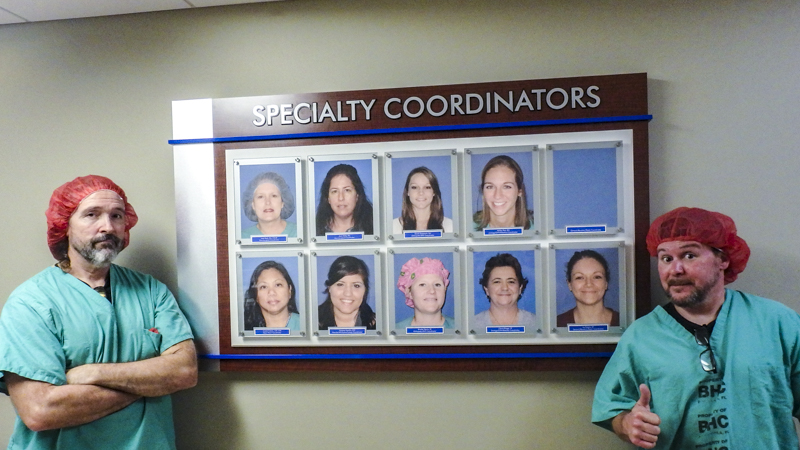 Specialty Coordinators portrait display panel for Baptist Hospital by Pensacola Sign