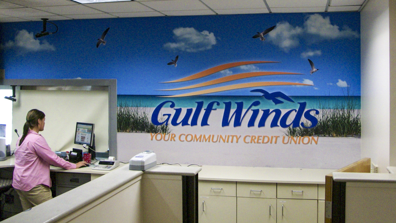 Gulf Winds Federal Credit Union teller wall wrap - Pensacola Sign Environmental Graphics