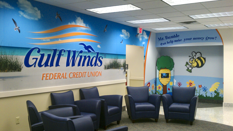 Gulf Winds Federal Credit Union waiting area wall wrap - Pensacola Sign Environmental Graphics