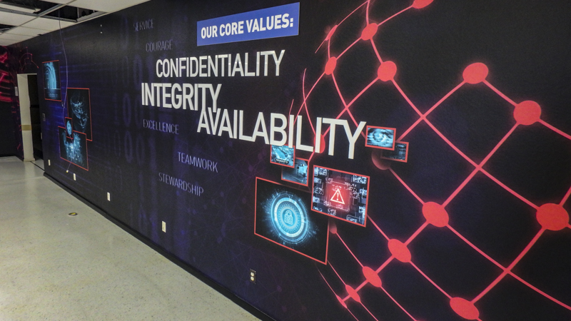 Pine Forest High School Cyber Security core values wall wraps - Pensacola Sign Environmental Graphics