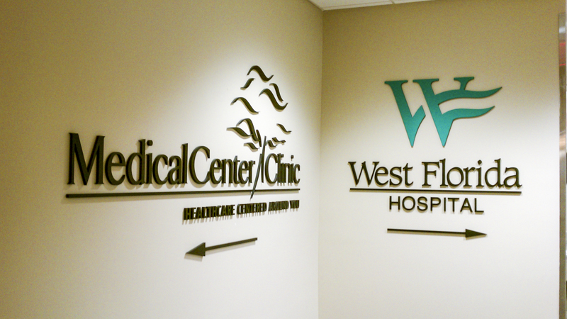 Medical Center Clinic and West Florida Hospital interior wayfinding by Pensacola Sign