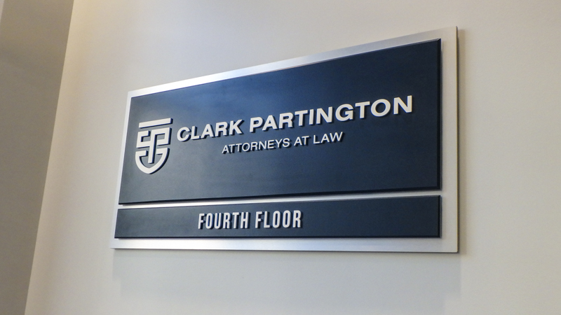 Clark Partington interior wayfinding by Pensacola Sign