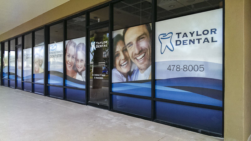 Taylor Dental window graphics by Pensacola Sign