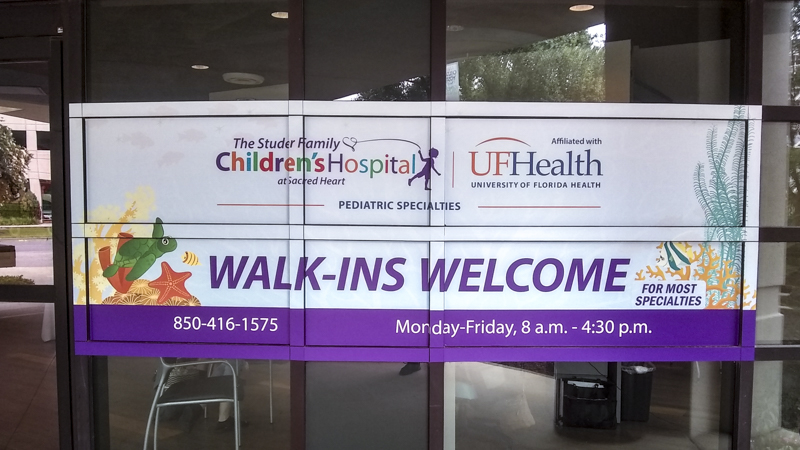Studer Family Children's Hospital vinyl window graphics by Pensacola Sign
