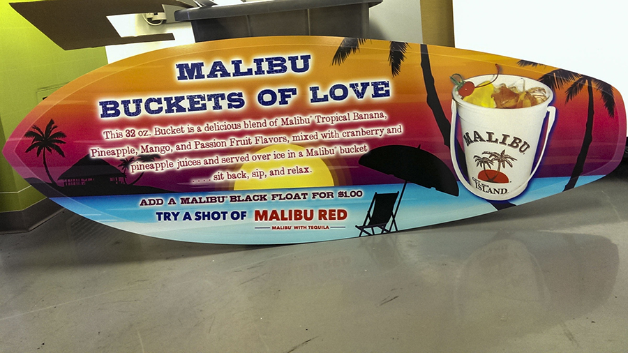 "Custom Display for Malibu Rum's ""Buckets of Love"" Vinyl Wrapped Skimboards Point of Purchase Store Displays (POP Display) by Pensacola Sign"