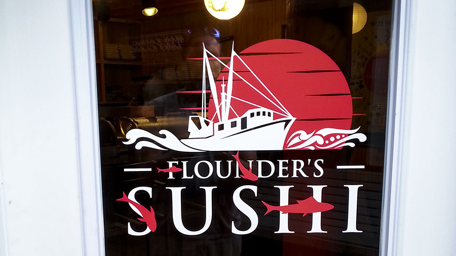 Flounder's Sushi vinyl lettering and decals by Pensacola Sign