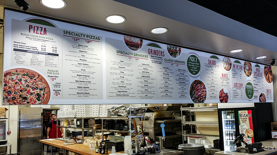Santino's menu custom informational, safety and utility signs by Pensacola Sign