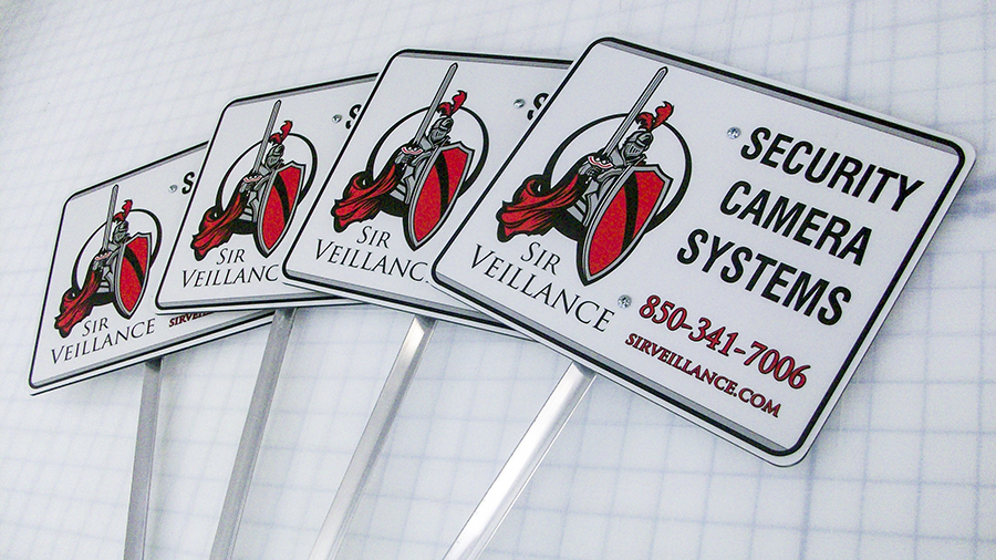 Sir Veillance Security custom informational, safety and utility signs by Pensacola Sign