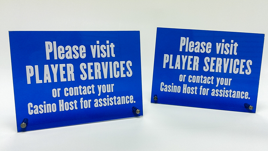 Casino countertop custom informational, safety and utility signs by Pensacola Sign