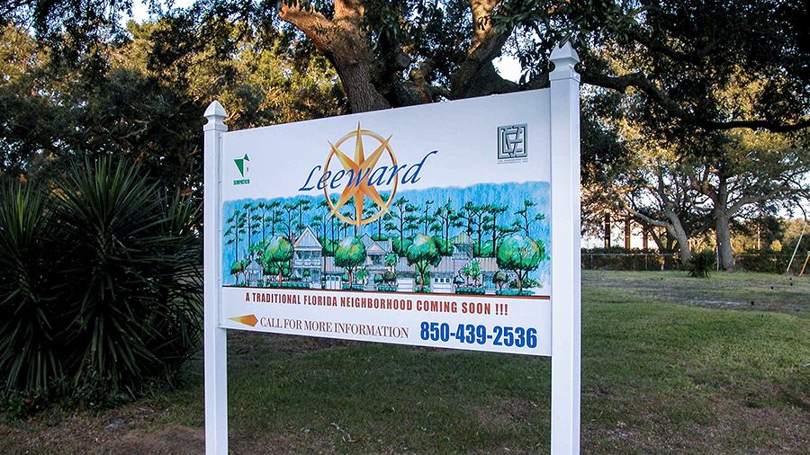 Announcement board for Leeward Neighborhood development custom informational, safety and utility signs by Pensacola Sign